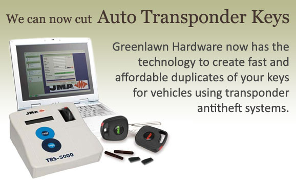 We now cut auto transponder keys.